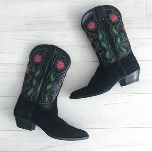 Tony Lama black leather flower inlay cowboy boots